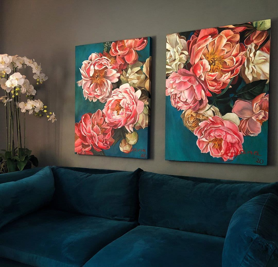 Pink on blue flower painting