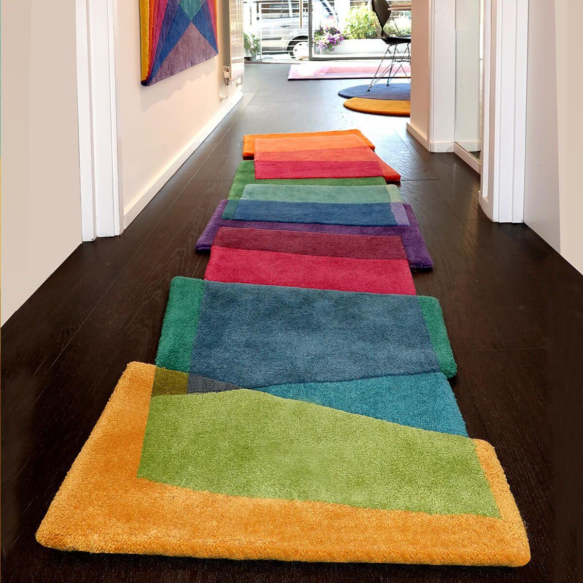 Long Offset Geometric Overlap Multi Colored Runner Rug