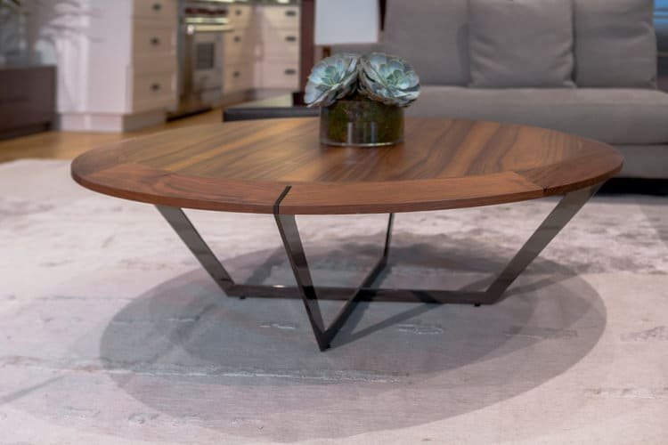 Tables by Marie Burgos Design seen at Private Residence - Bachelor Loft Tribeca, New York - Diamond Coffee Table - Walnut top and Oiled Bronze legs