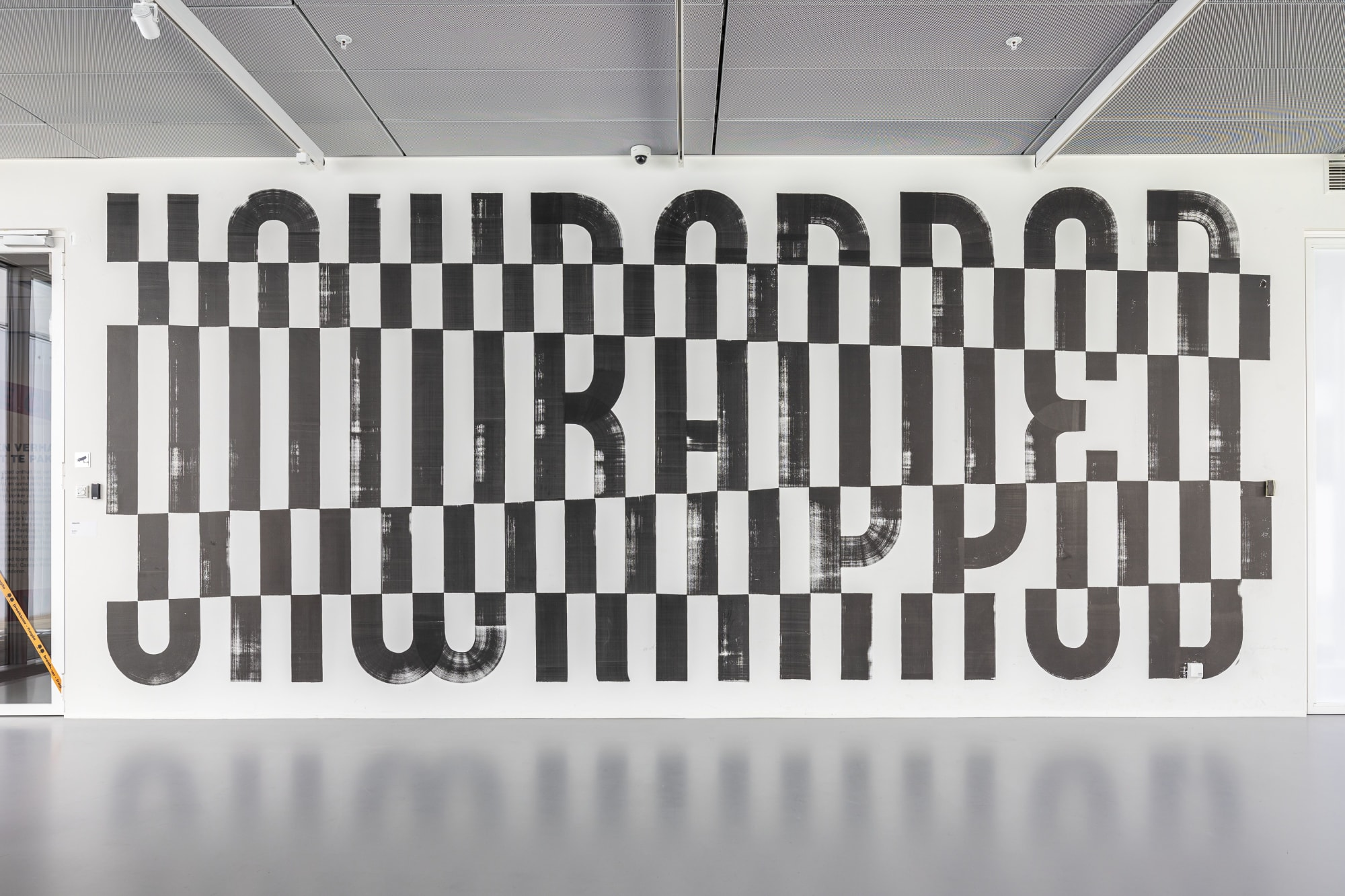 Large Black and White Staggered Typography Mural