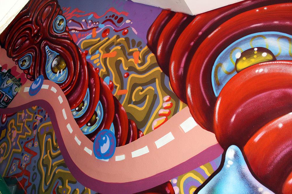 Murals by Amara Por Dios seen at Queen of Hoxton, London - Queen of Hoxton, Rooftop Bar