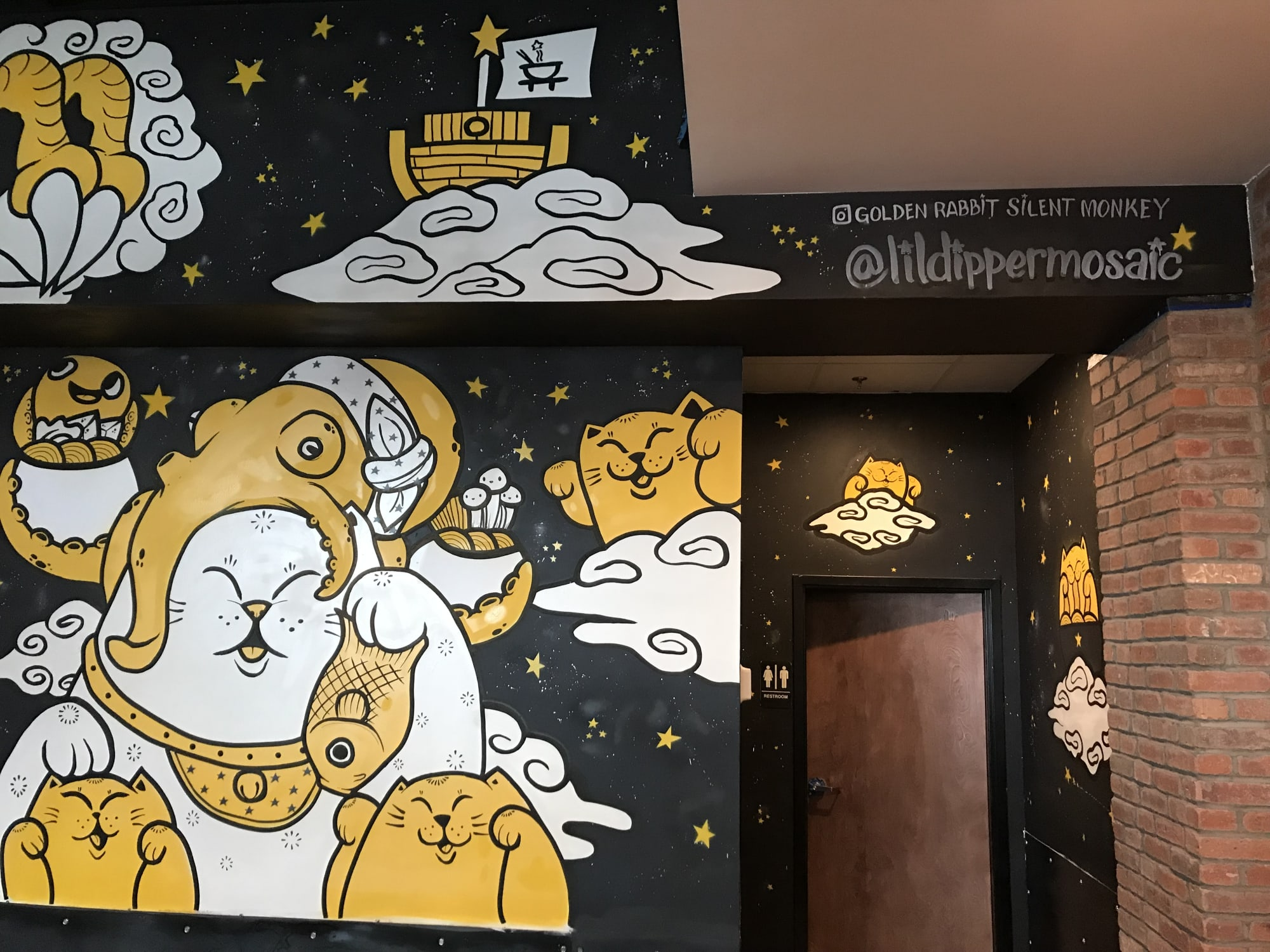 Murals by Golden Rabbit Silent Monkey at Little Dipper Hot Pot House, Fairfax - Food Offering for the Heavenly Dragon