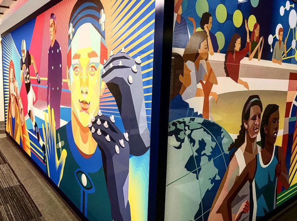 Murals by Yi Illustration 365days seen at Gallaudet University, Washington - The Maguire Welcome Center, Gallaudet University
