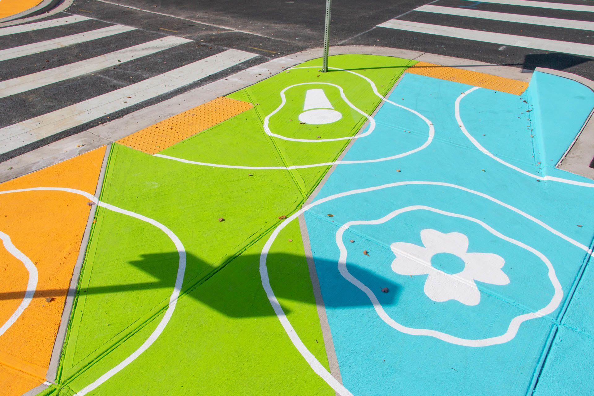 Street Murals by Graham Projects seen at Margaret Brent Elementary School, Baltimore - Reverberations Crosswalk