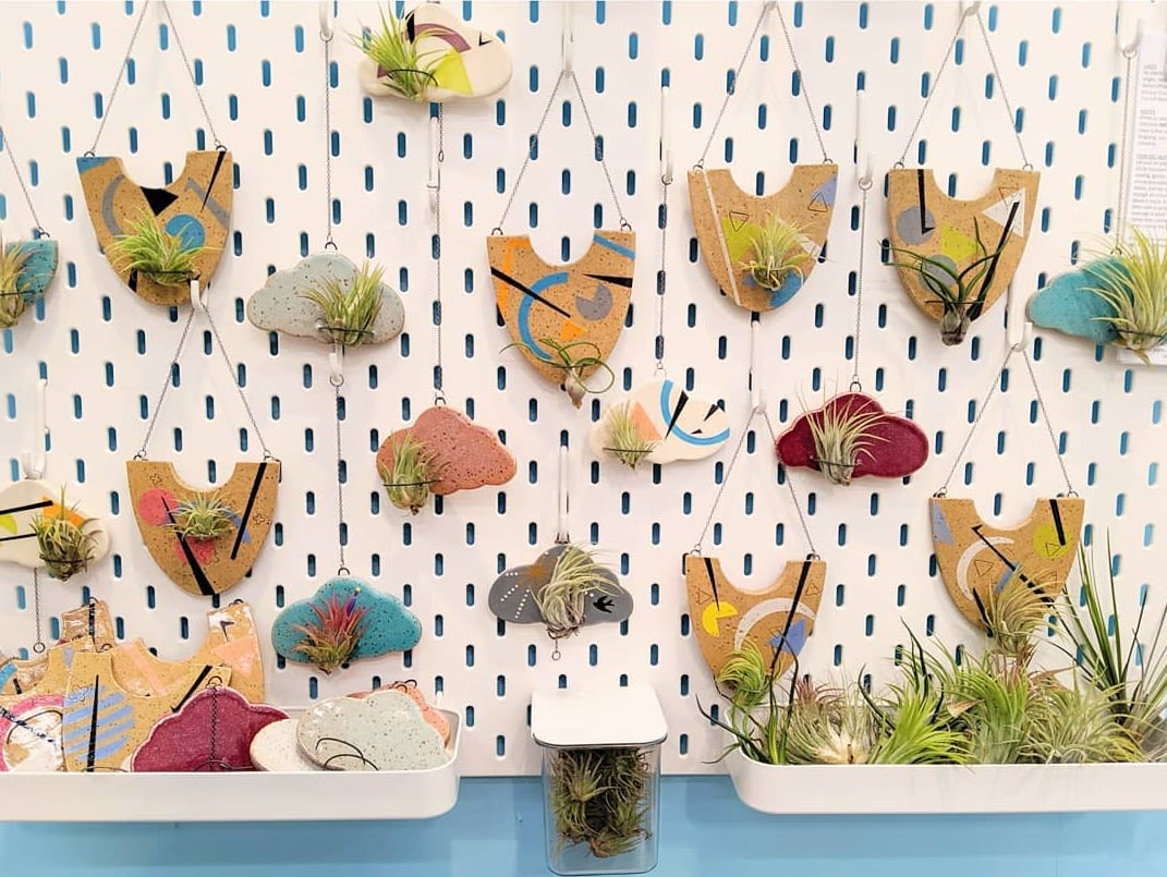 multicolor mixed media succulent hanging pots