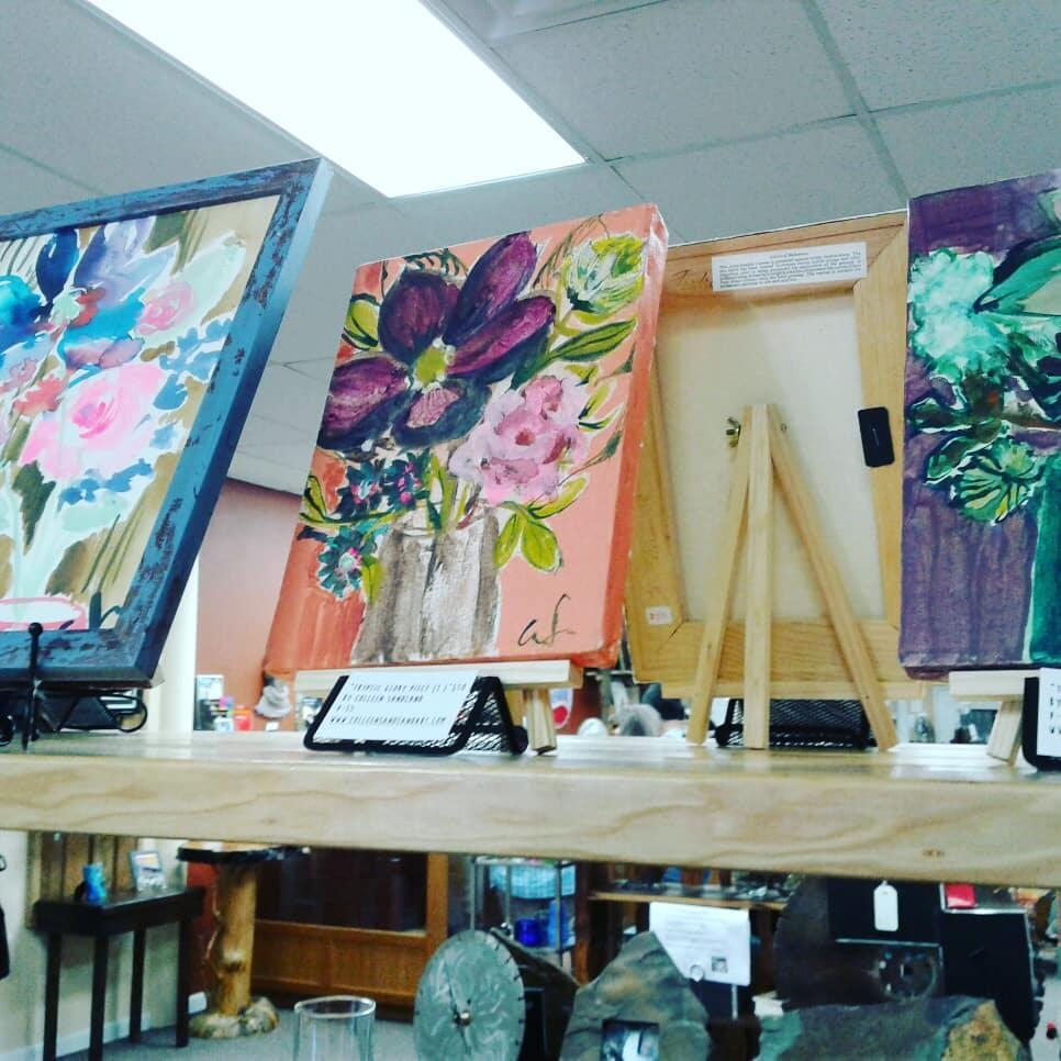 Purple flowers in vase painting