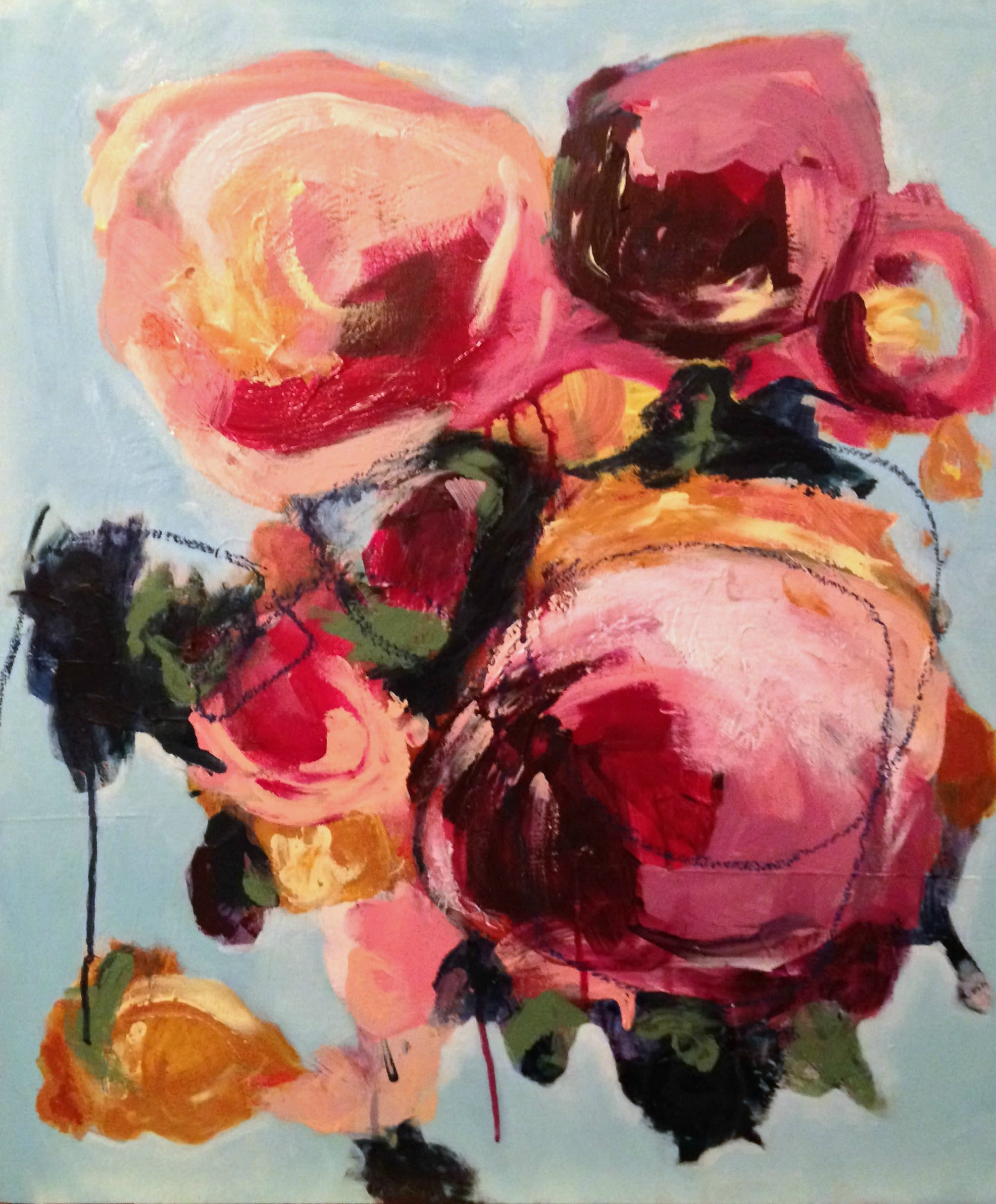 Pink flower abstract painting