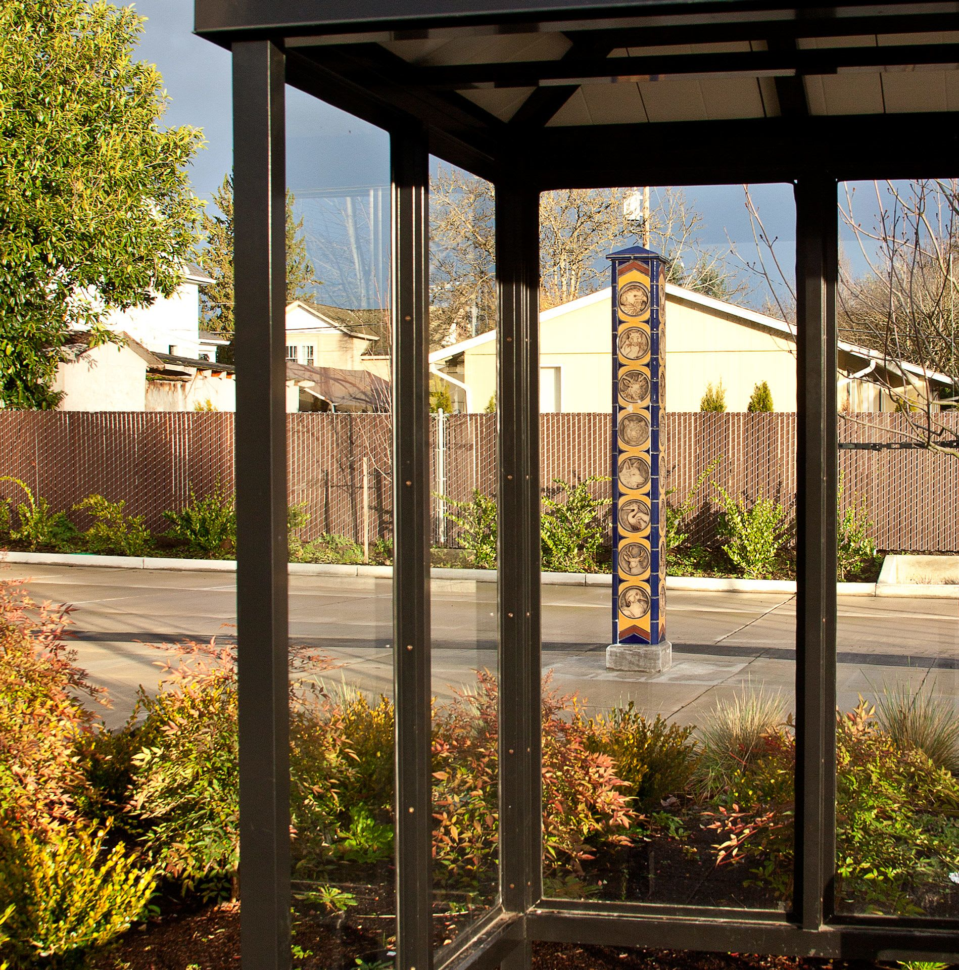 Public Sculptures by Gregory Fields seen at 800 NE 2nd St, McMinnville - Yamhill County Panorama