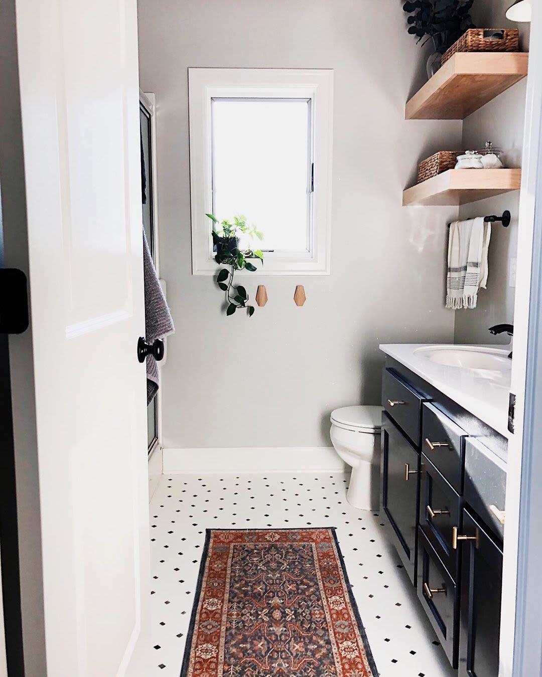 Unique penny tile floor stencil