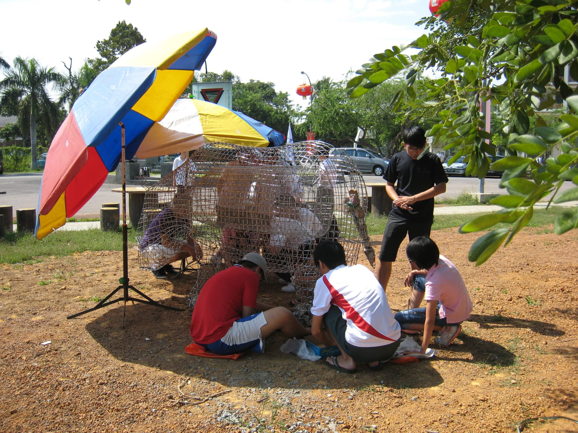 Public Sculptures by Roger Gaudreau seen at Muar Chung Hwa High School, Muar - The Migration of the Rhinoceros - Jui-Yen