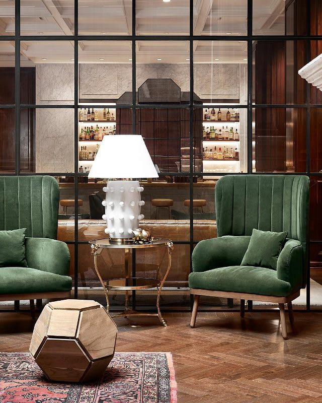 Furniture by Randell Morgan seen at The Adolphus Hotel, Dallas - Teak Orbs - seating / side table's