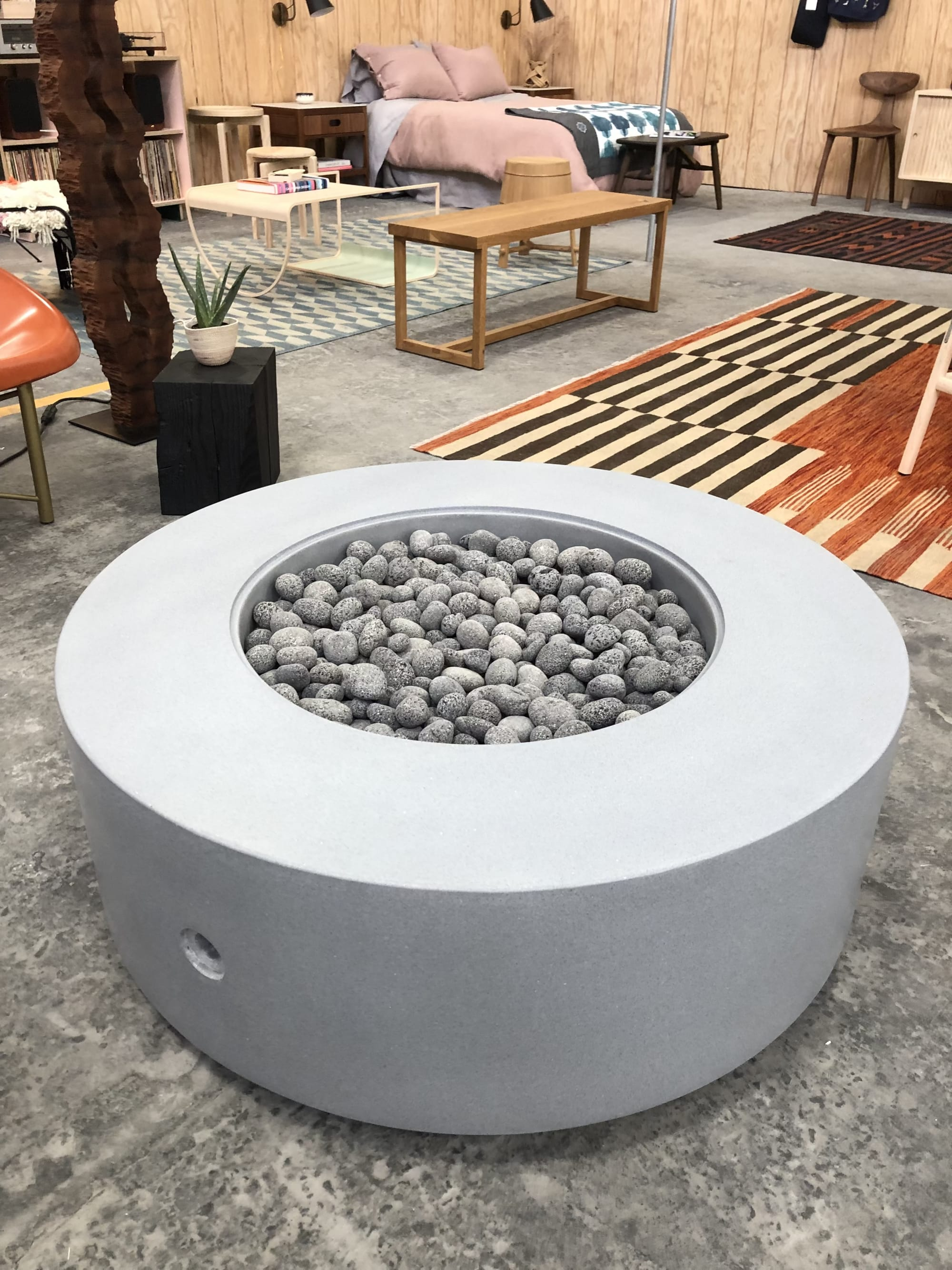 Fireplaces by Concreteworks seen at Bay Area Made x Wescover 2019 Design Showcase, Alameda - Tinder Cylinder Fire Table