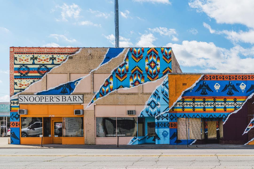 Street Murals by Add Fuel seen at Snooper's Barn Used Book Store, Fort Smith - Native