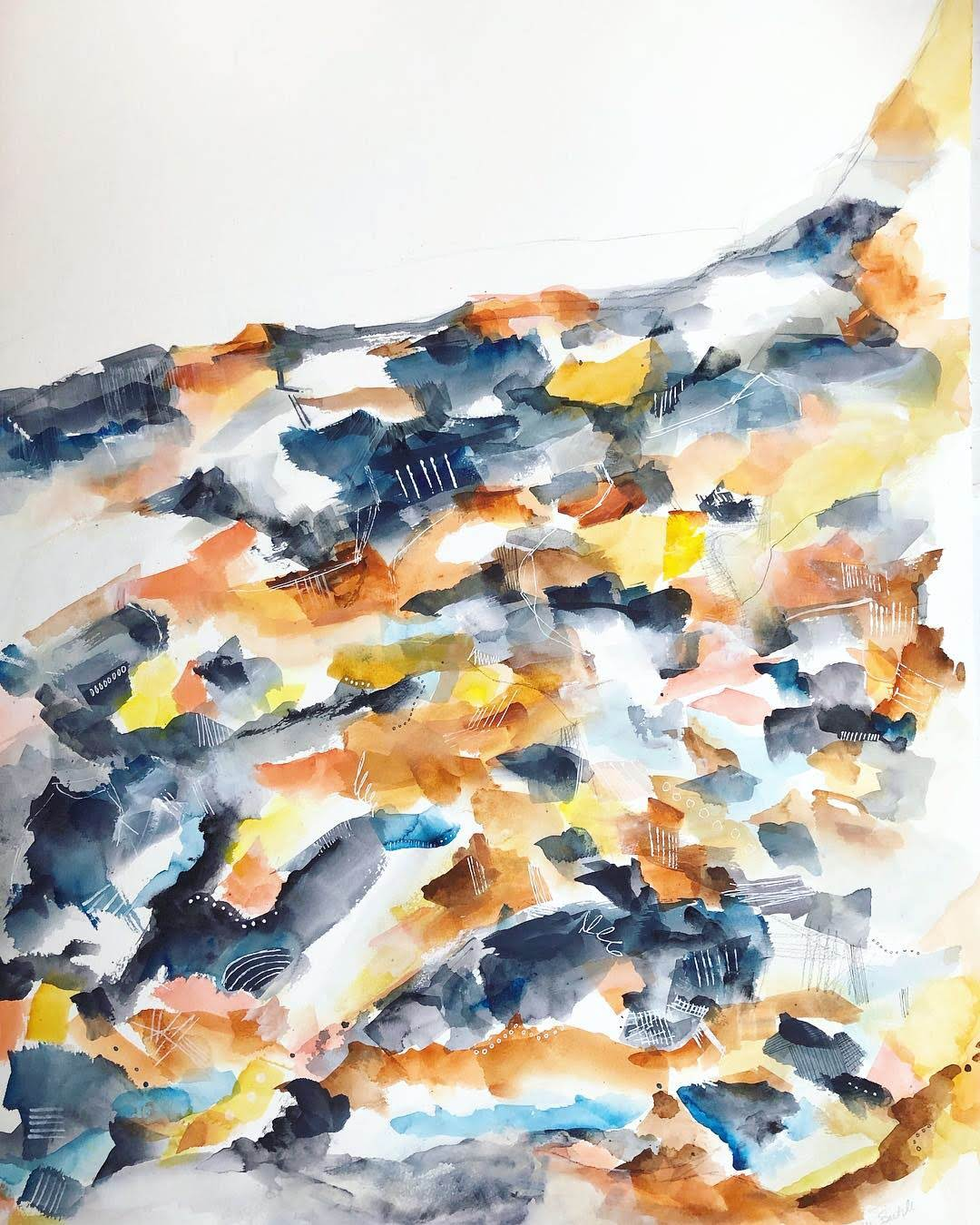 Paintings by Melanie Biehle seen at Private Residence, Bellevue - Abstract Landscape Watercolor Tryptich