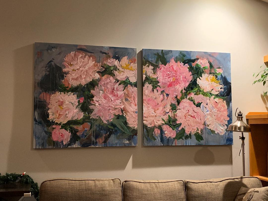 Pink flower painting diptych