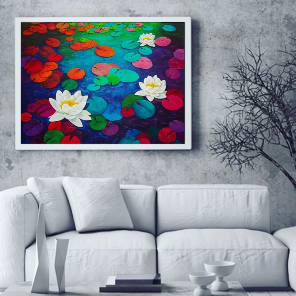 Colorful Waterlily Painting