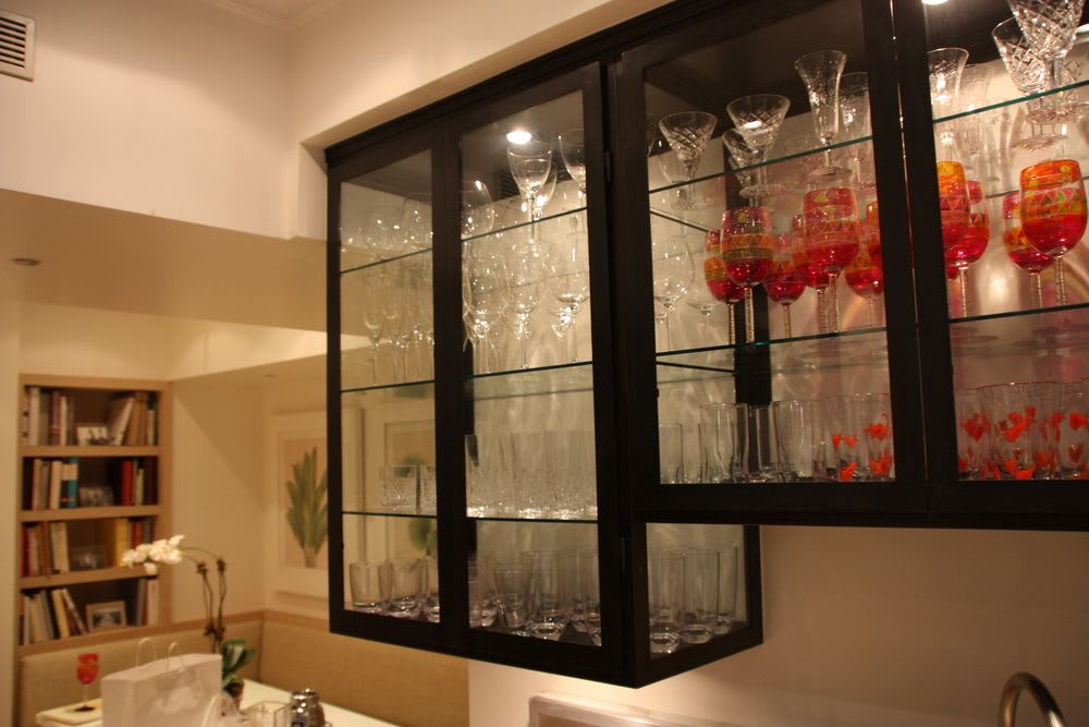 Metal Kitchen cabinets with open glass fronts