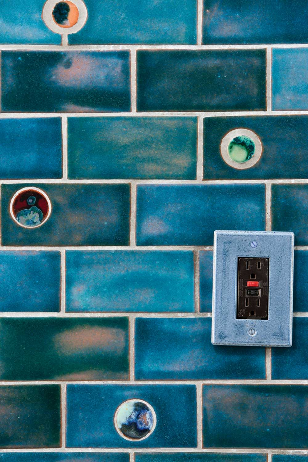 Tiles by Clay Squared to Infinity seen at Private Residence, Minneapolis - Little Blue Gem Bathroom