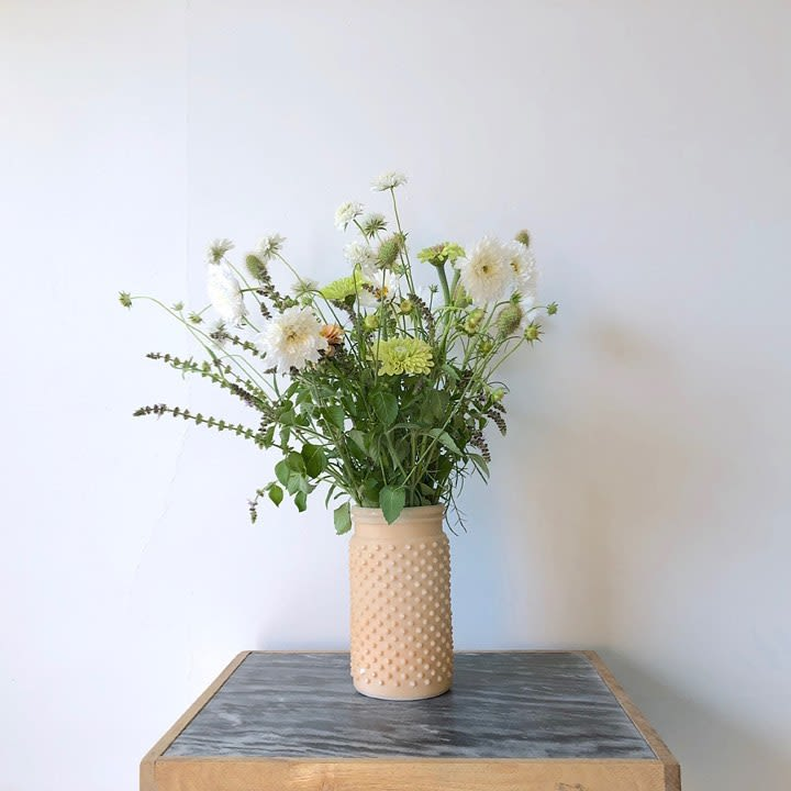 Textured Micro Spike Cylindrical Nude Ceramic Vase
