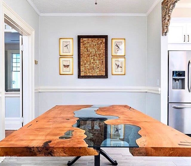 Long wooden river table