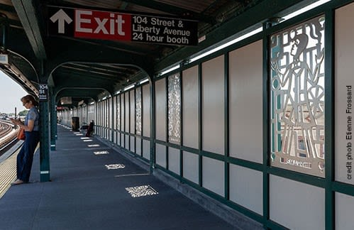 Public Sculptures by Beatrice Coron seen at 104 St-Oxford Av Station, Queens - On the Right Track