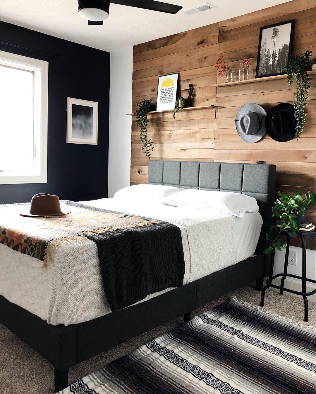 Modern hardwood accent wall