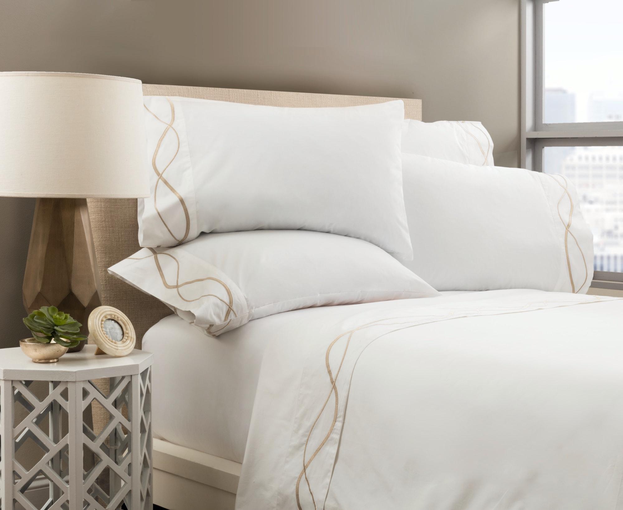 Linens & Bedding by ELEGANT STRAND seen at Private Residence - Boca Raton, FL, Boca Raton - Capri Embroidered Sheet Set