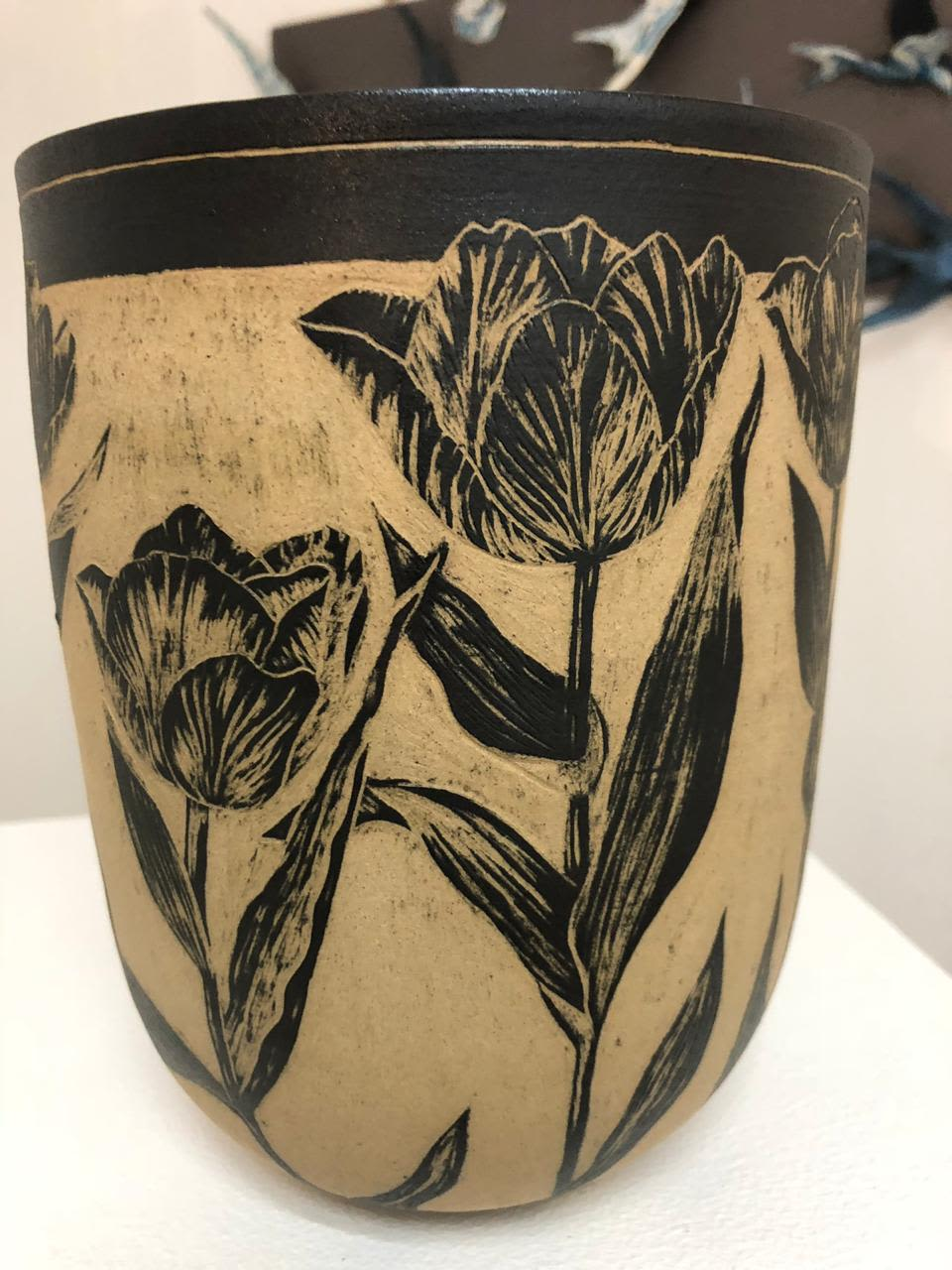 Botanical Inspired Sgraffito Ceramic Vases And Bowls By Sera Holland Handmade By Me Seen At Private Residence Cape Town Wescover