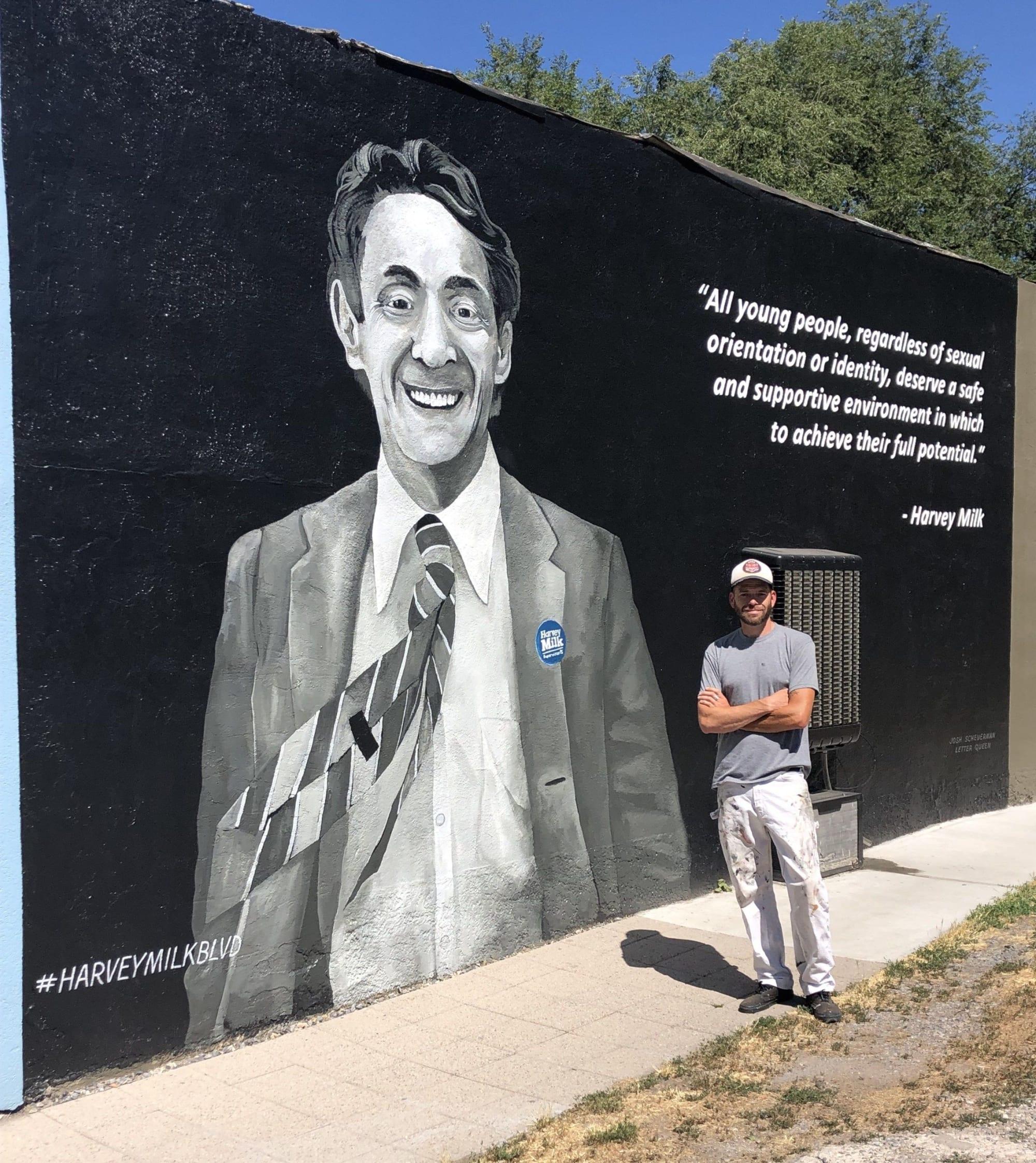Murals by Josh Scheuerman seen at 300 E 900 S, Salt Lake City - Harvely Milk Blvd. Mural