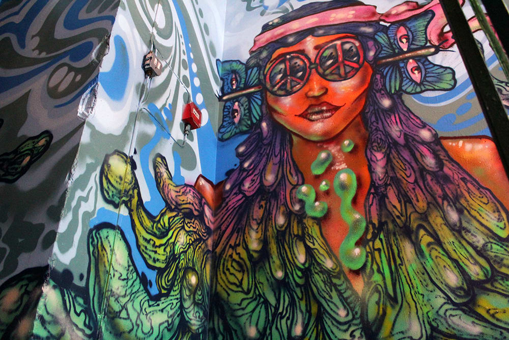 Murals by Amara Por Dios seen at Queen of Hoxton, London - Queen of Hoxton, Rooftop Bar