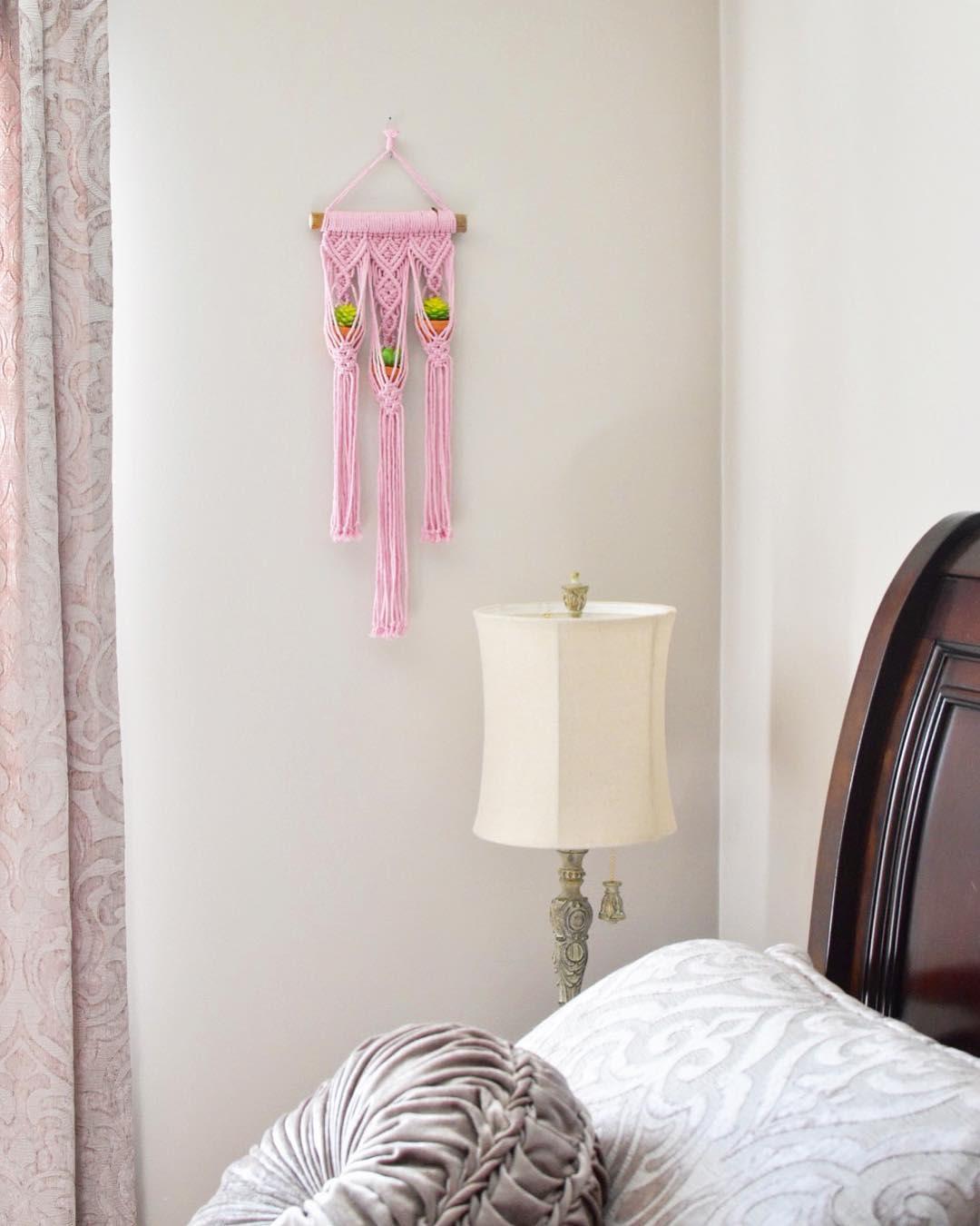 Mini pink macrame plant hanger
