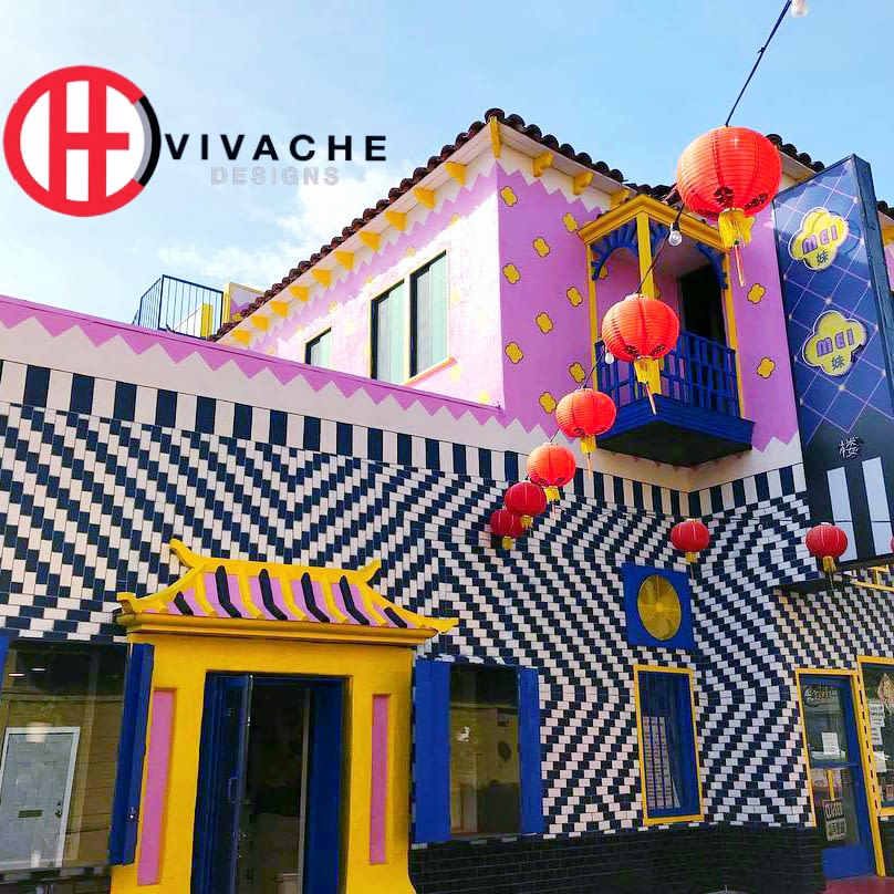Street Murals by Vivache Designs seen at 434 Jung Jing Rd, Los Angeles - Chinese Liberace Building (Mei Mei Lou)
