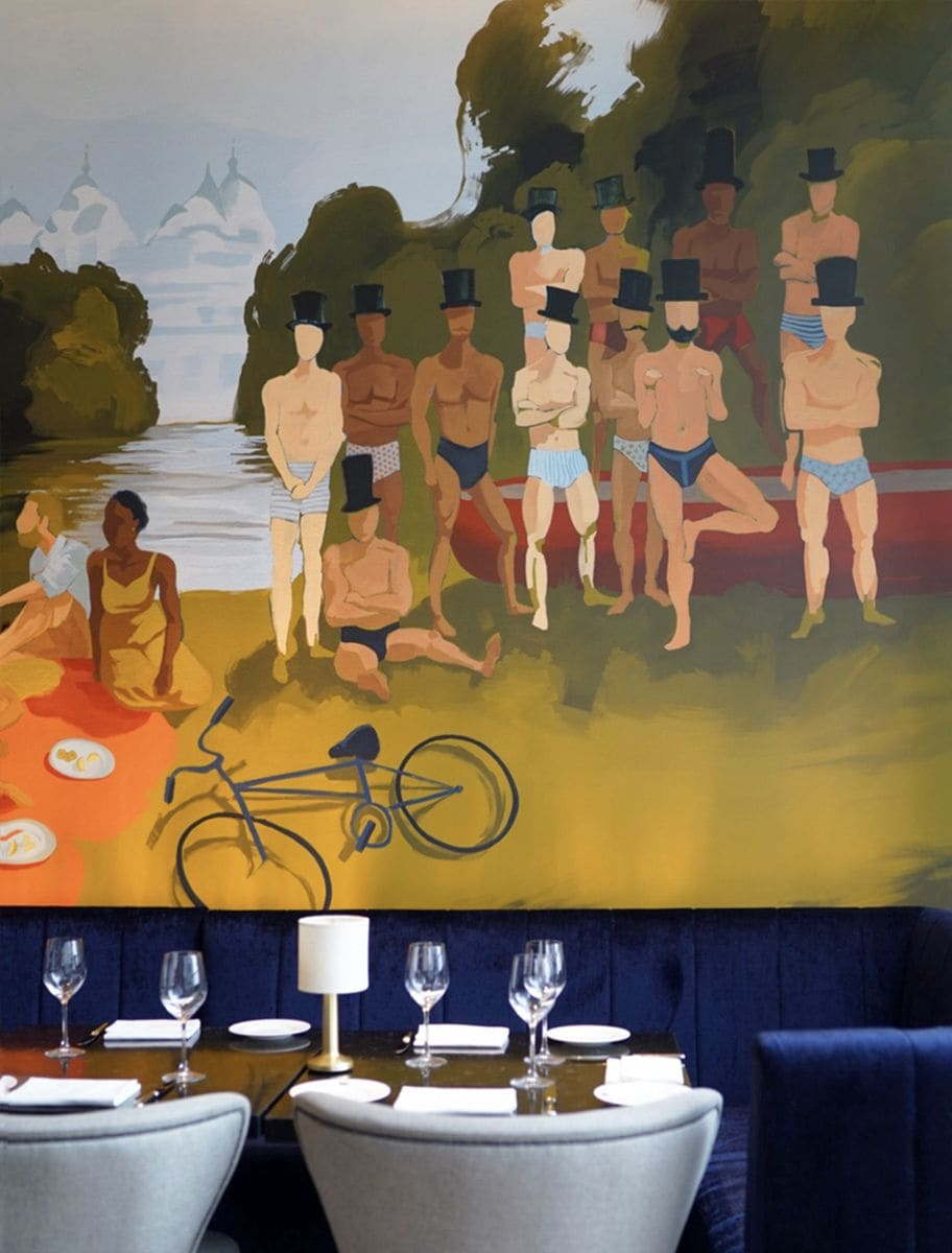Murals by Sarah Moore seen at Queensyard, New York - queensyard Murals