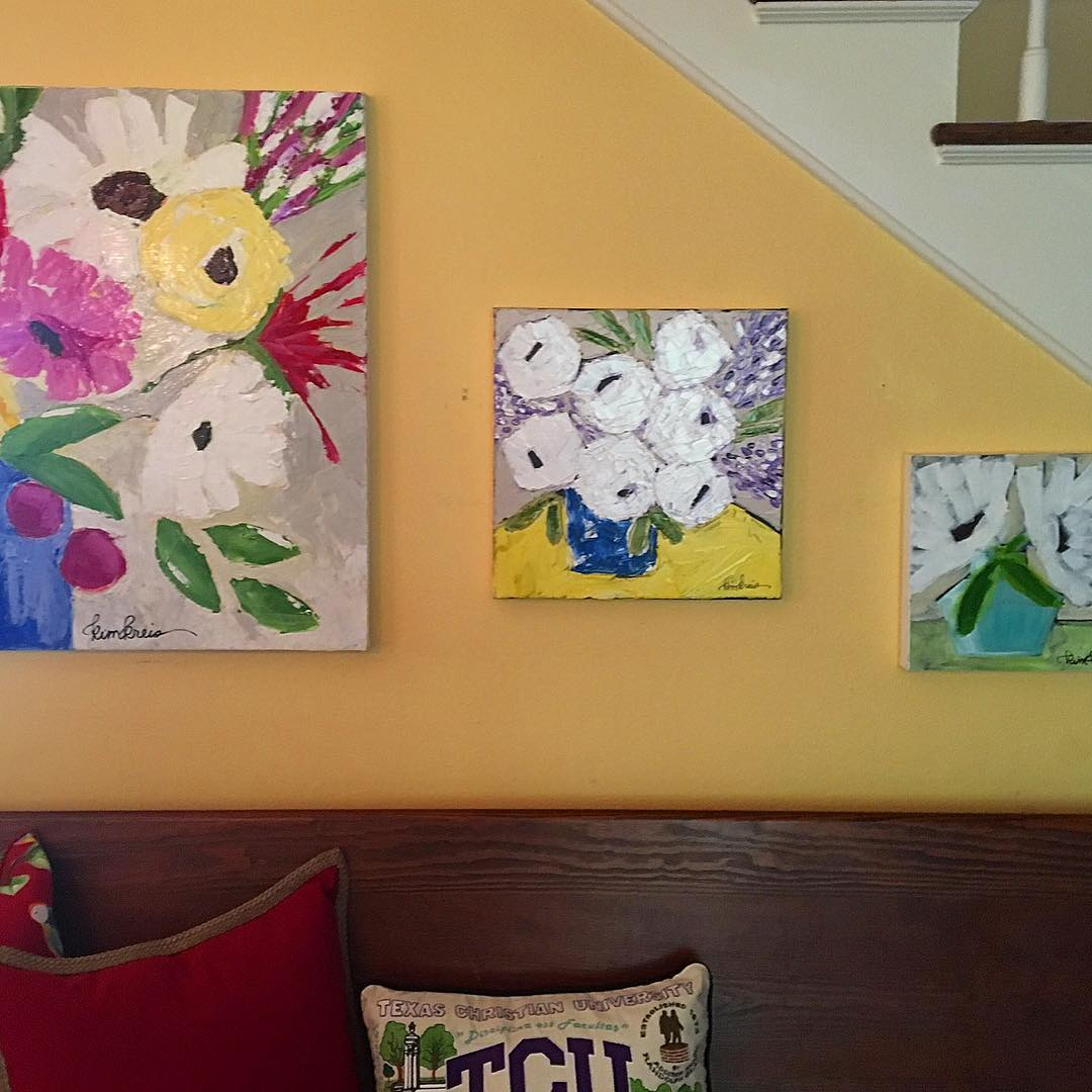 White and purple on yellow flower painting