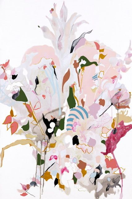 Light pink abstract flower painting