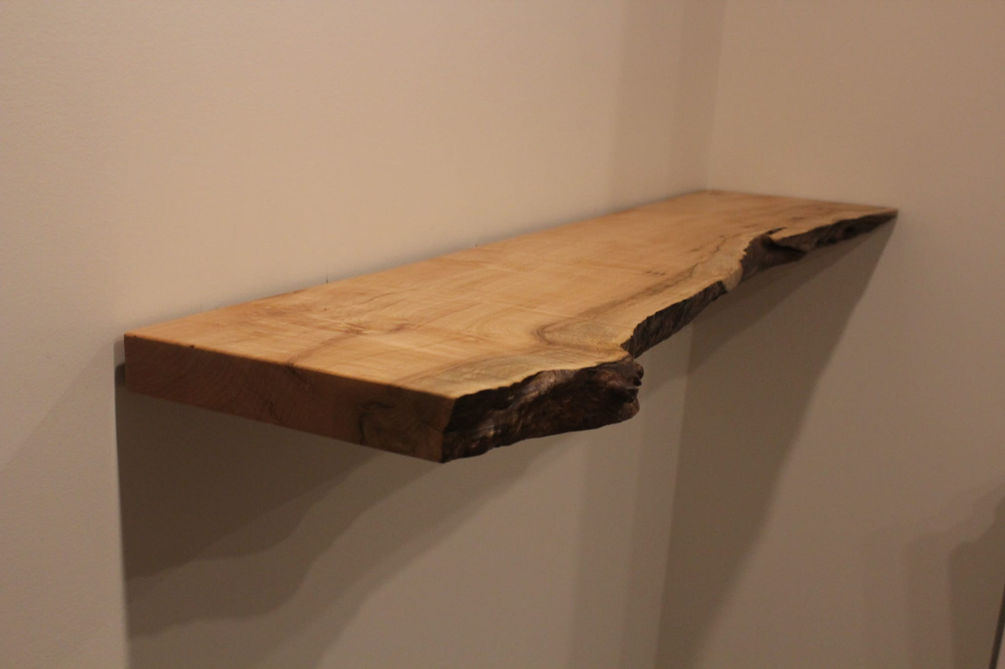 Big Leaf Maple Live Edge Floating Shelf Hardware Bracket By Saw Live Edge Seen At Private Residence Portland Wescover
