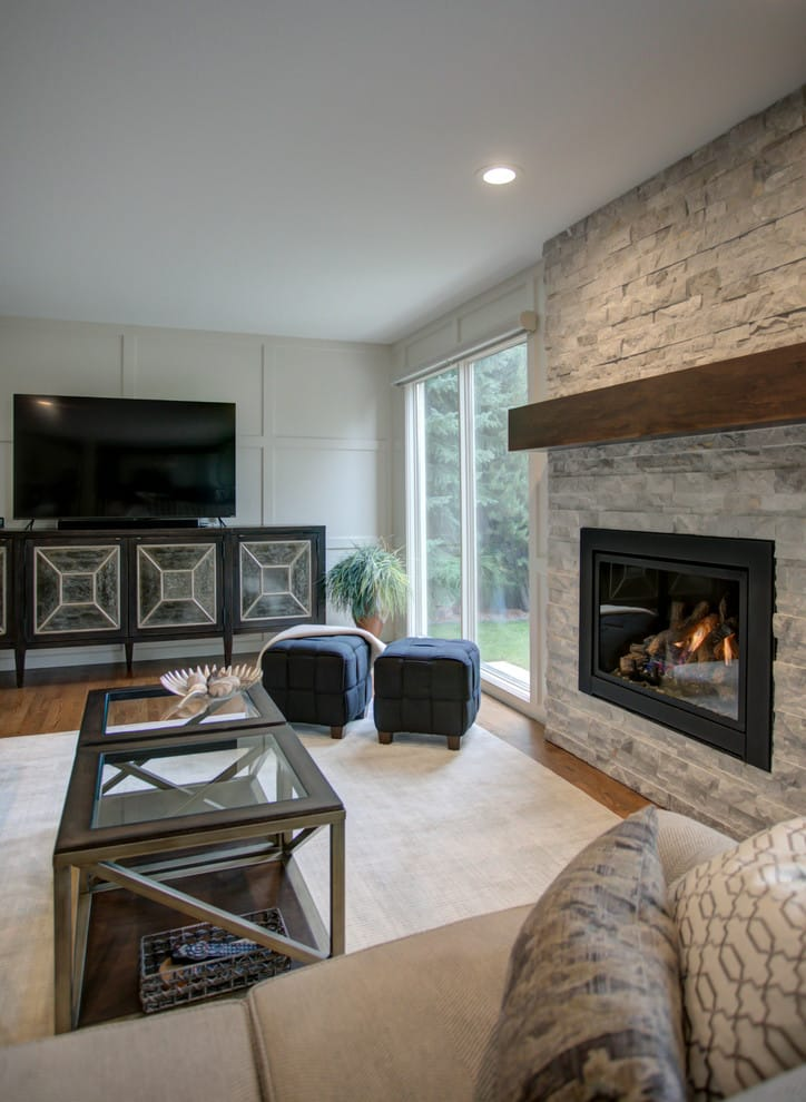 Interior Design by ANA Interiors Ltd at Private Residence, Calgary - Family Room & Fireplace Renovation