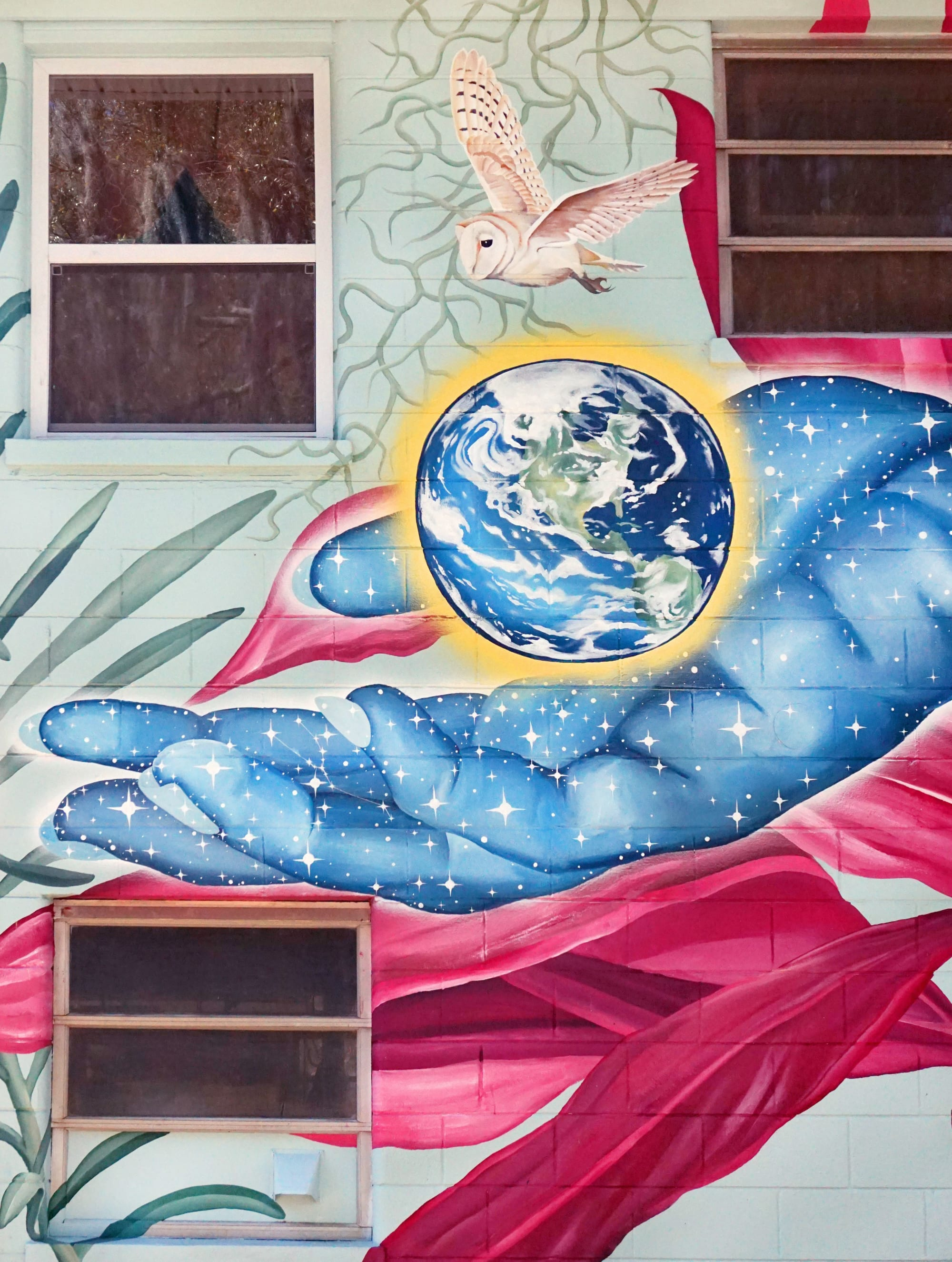 Murals by Celeste Byers seen at Private Residence, Savannah - The World Is Yours