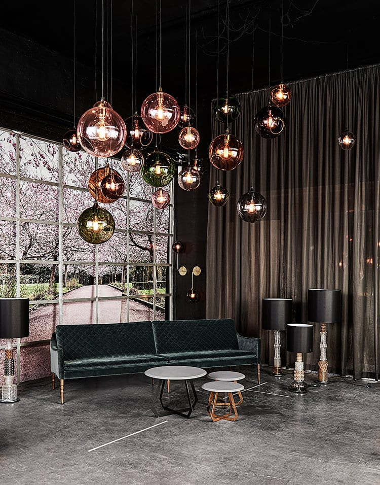 Lamps by Marie Burgos Design seen at Private Residence, New York - BALLROOM XL PENDANT LIGHTS - Cluster