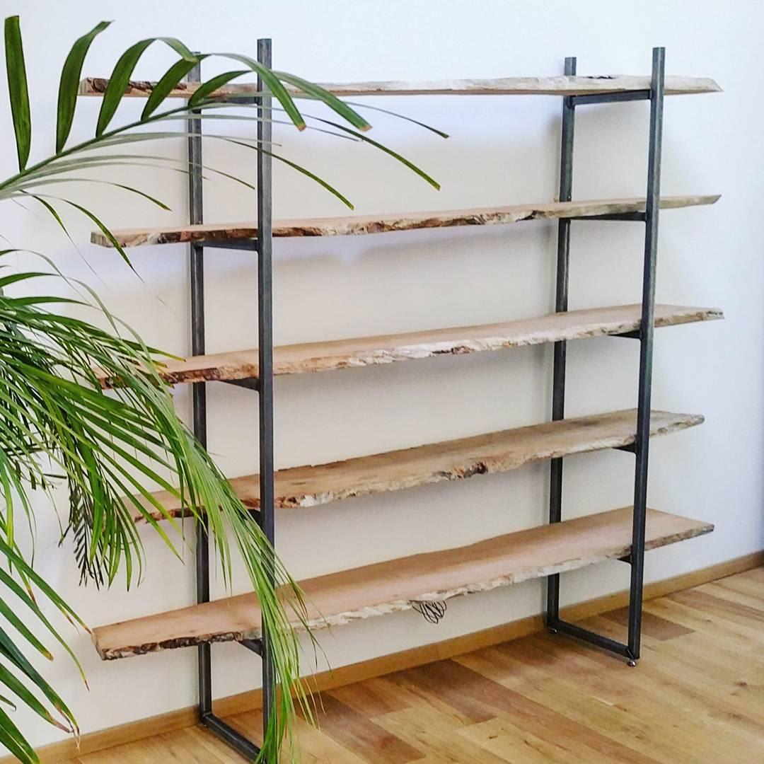 Live edge wooden shelving