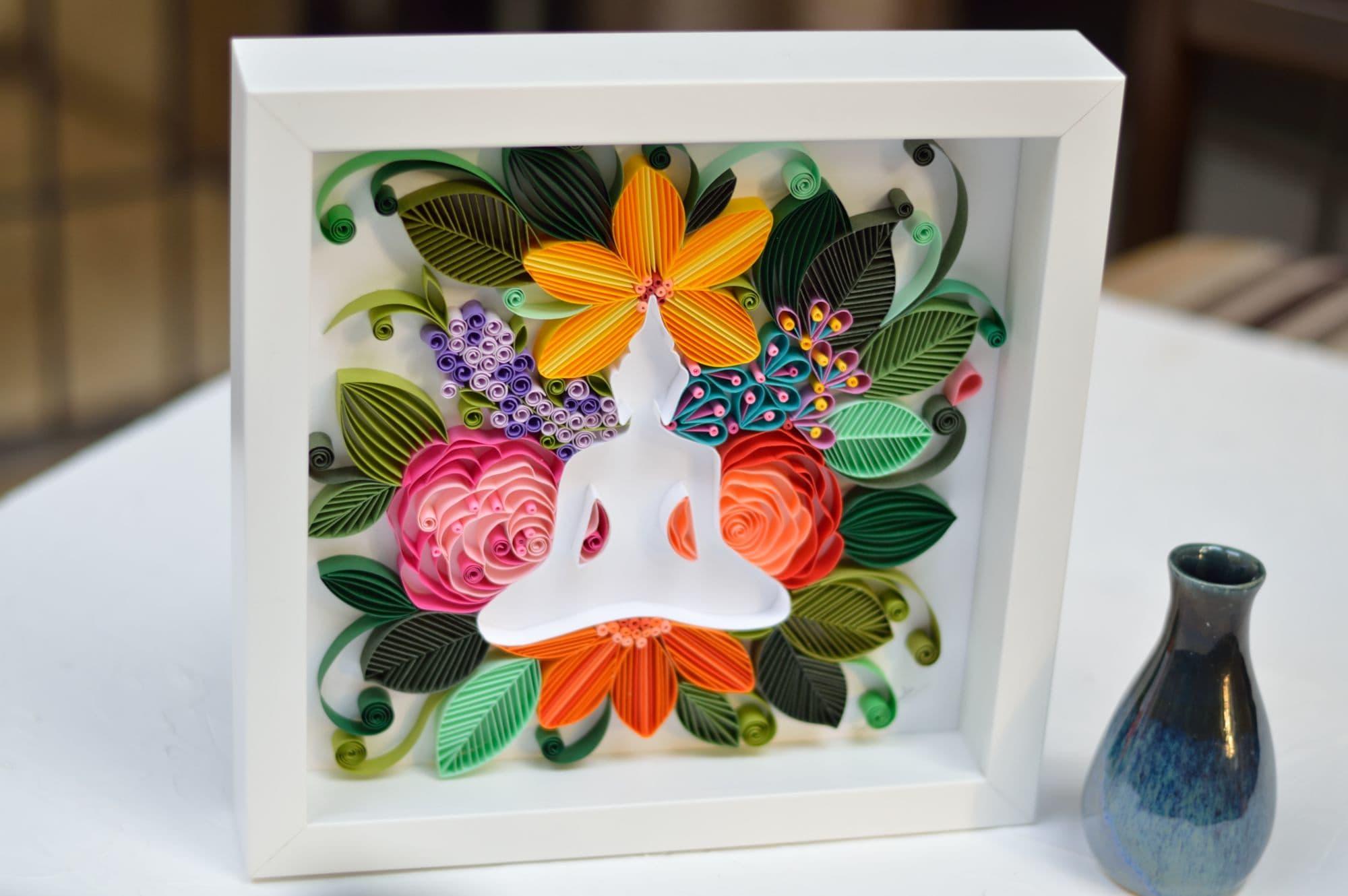 floral Lotus Buddha framed sculpture