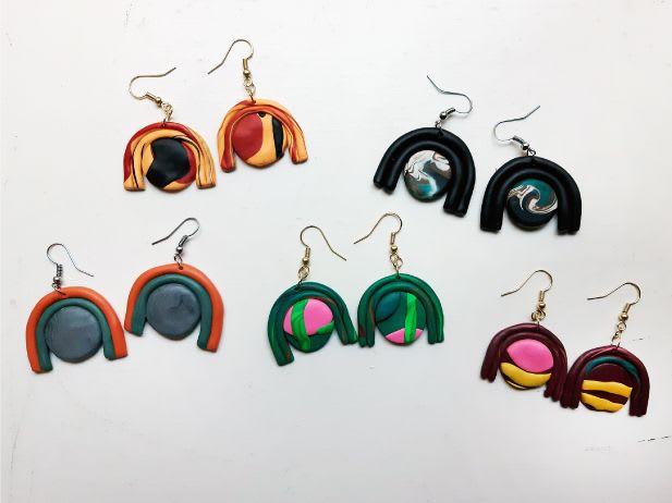 "Apparel & Accessories by The Wavering Line - Artist: Ky Novak seen at Little Piece Of My Heart, Loveland - Rainbow Earrings - ""Bliss"""