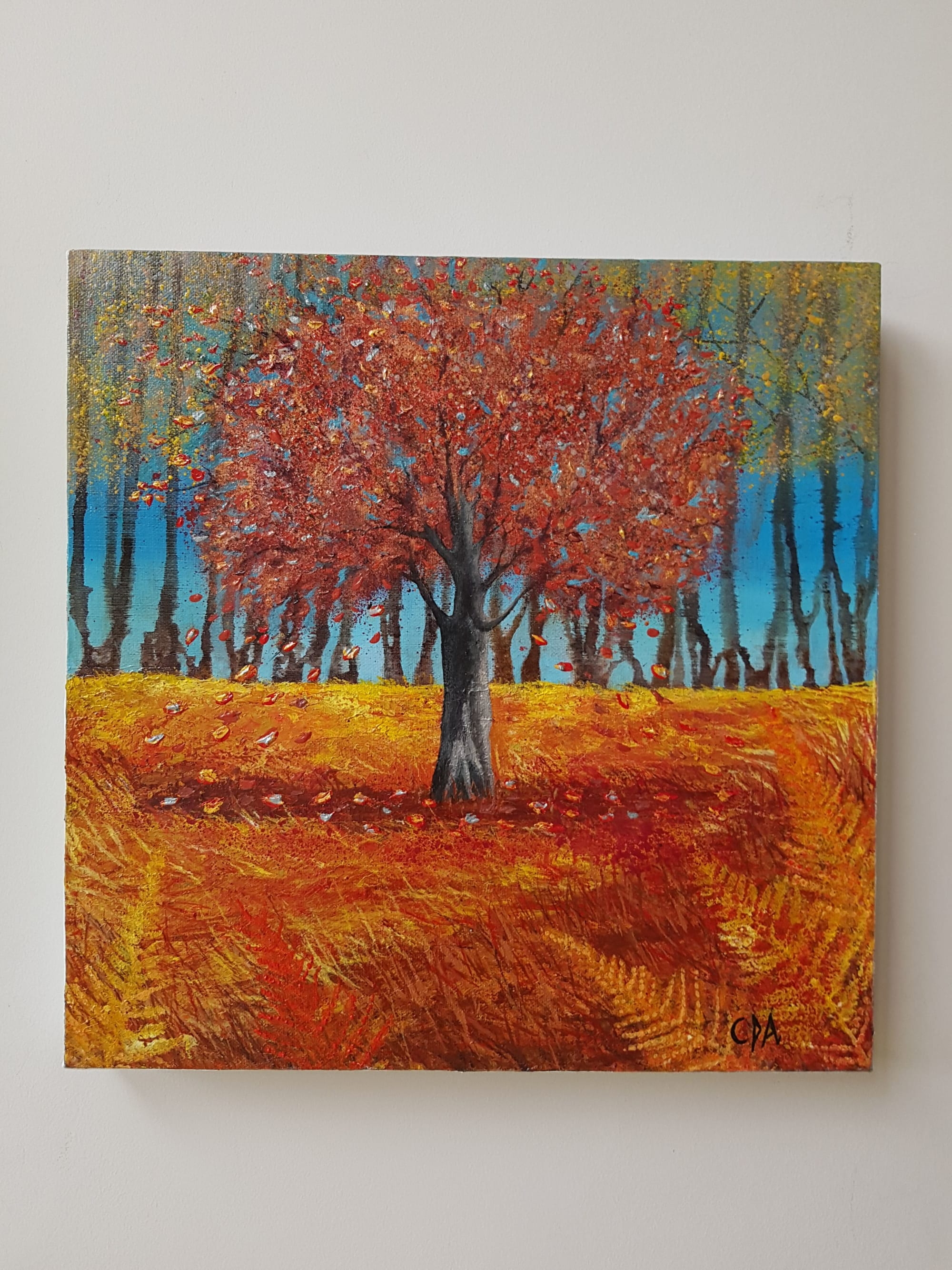 Paintings by Carolina Arbuthnot seen at Elderberry Blacks Café, Knowle - Autumn leaves