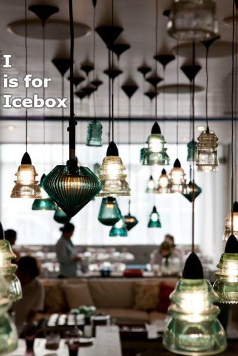 Chandeliers by RailroadWare Lighting & Hardware seen at Icebox Cafe, Miami Beach - RailroadWare Insulator Light Array