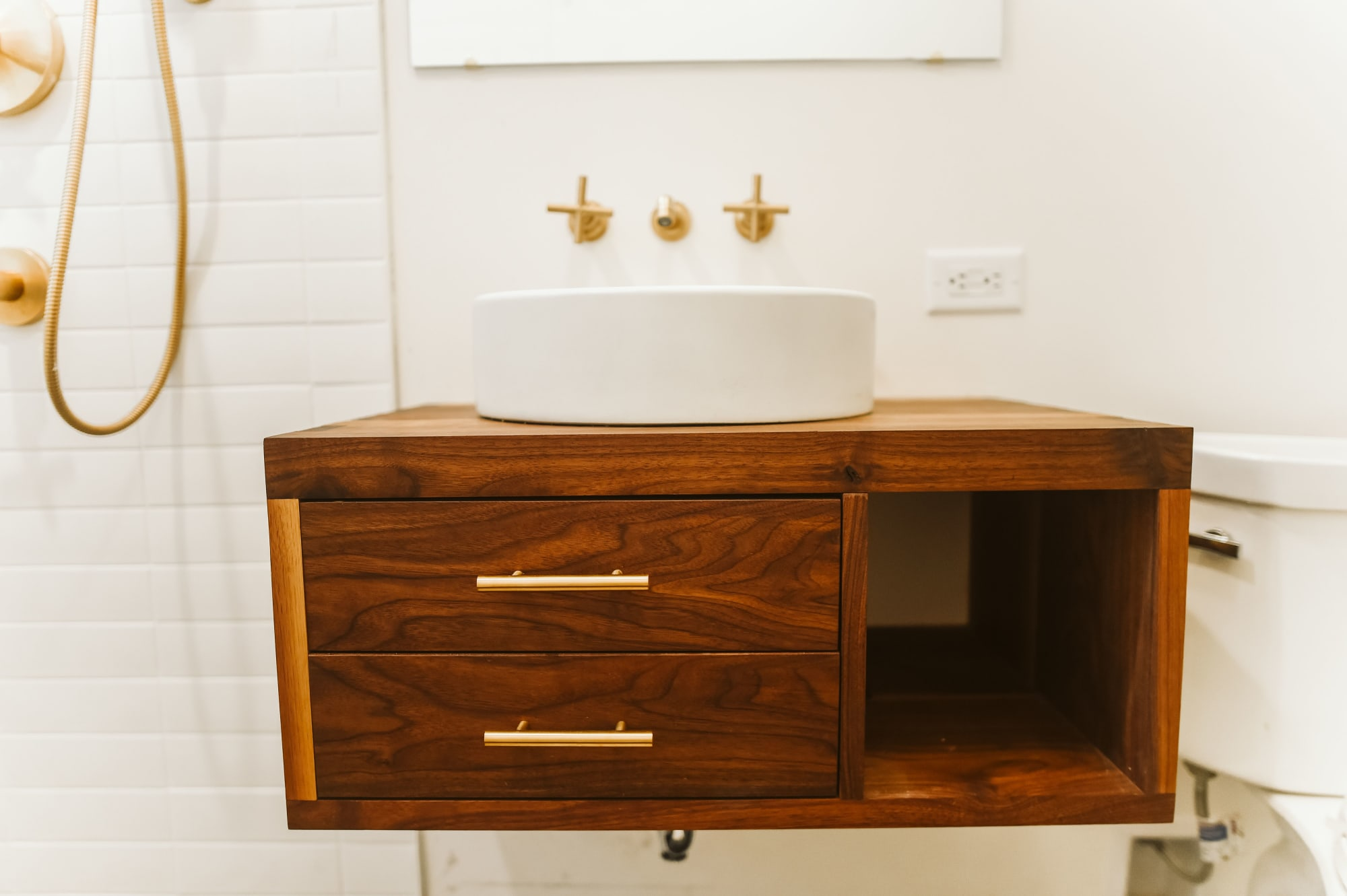 Mid Century Modern Vanity with Gold Hardware