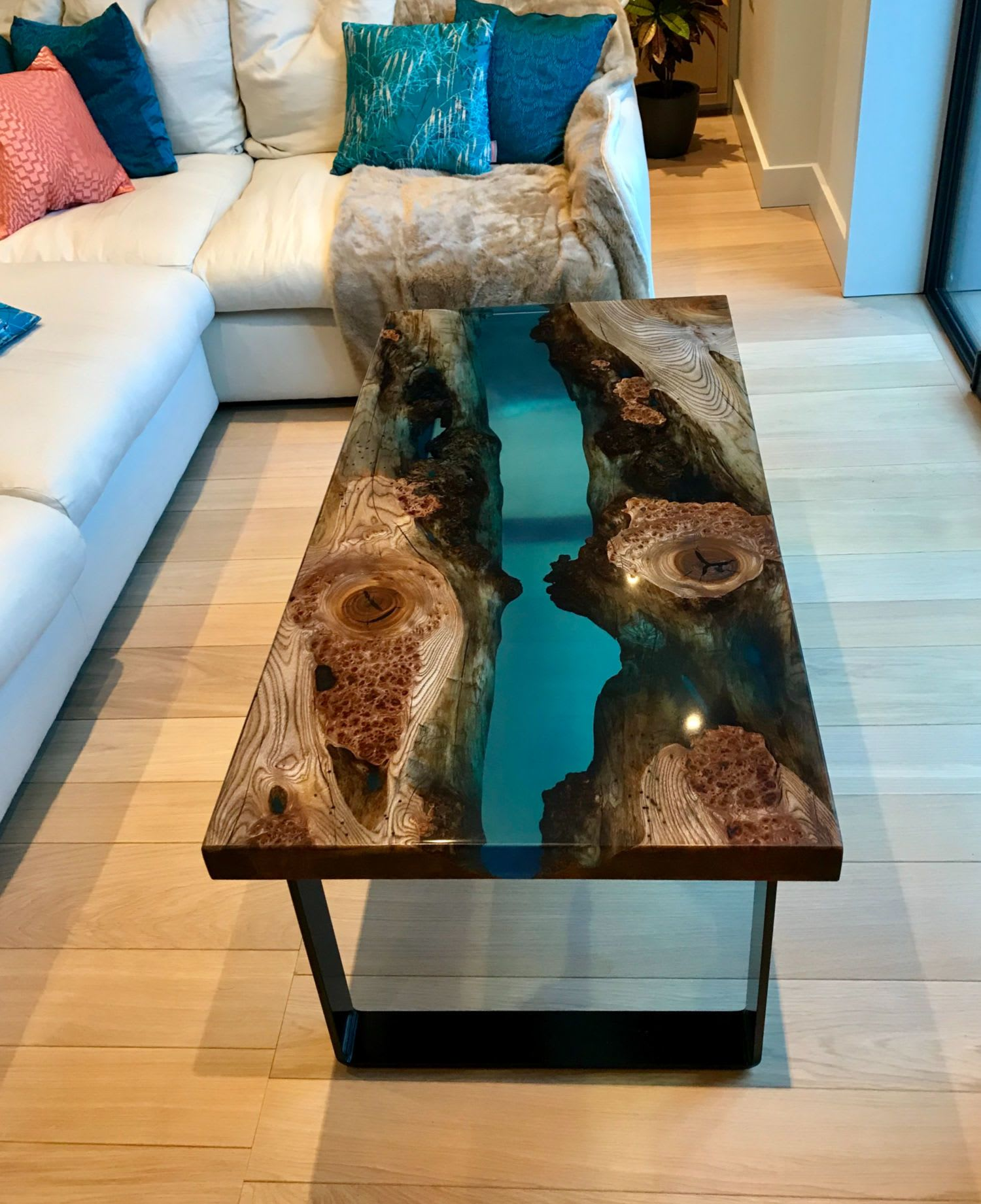 Dark imperfect stained glass river table