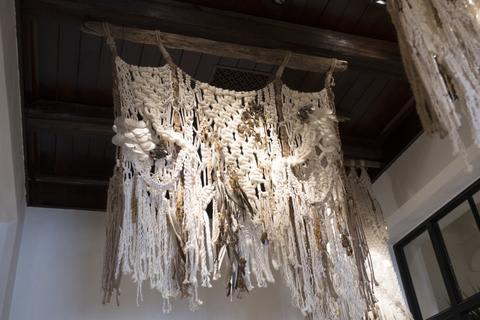 Macrame Wall Hanging by Modern Macramé by Emily Katz at Ralph Lauren, Beverly Hills - Macramé installation