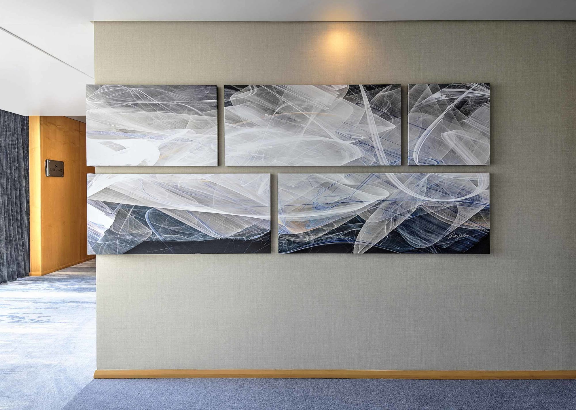"Murals by Rica Belna seen at Shangri-la Hotel Dubai, Dubai - Art-series ""Haze"" Wall Panoramas, Shangri-La, Dubai"