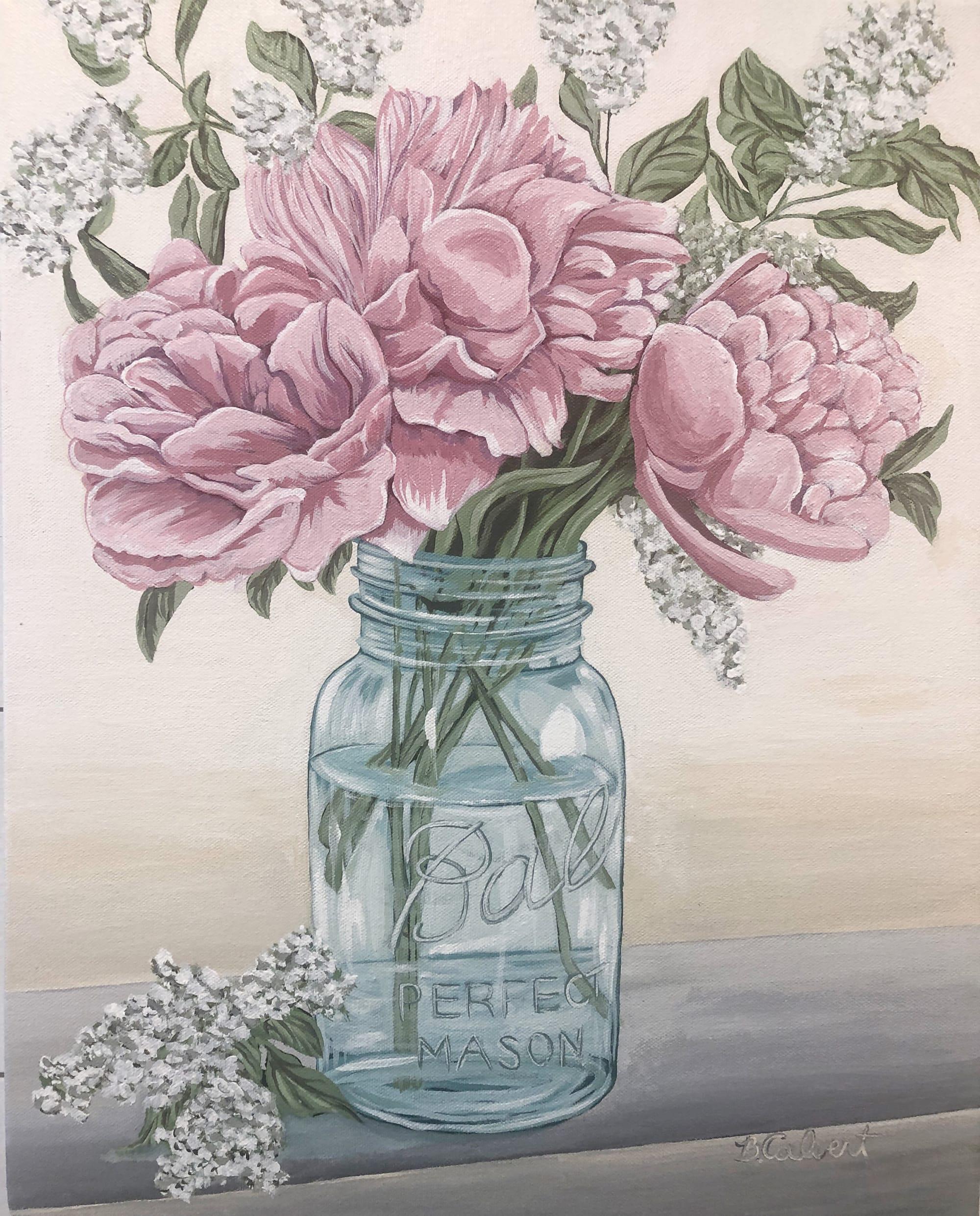 Pink flowers in mason jar flower painting