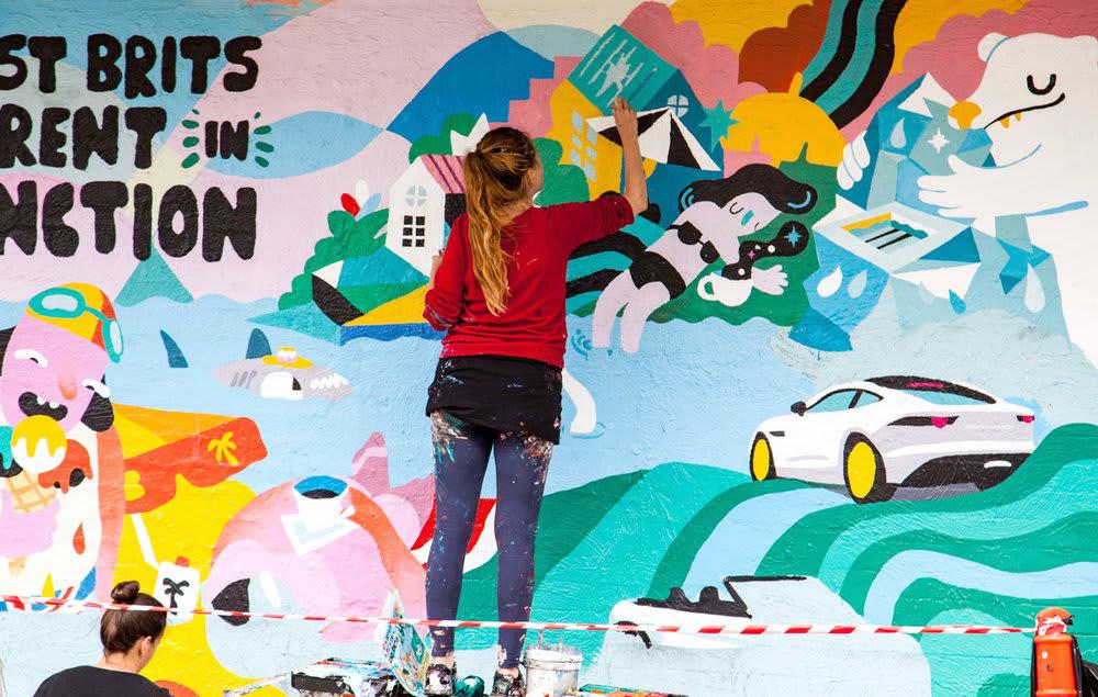 Street Murals by Brolga seen at Bondi Beach, Bondi Beach - Jaguar